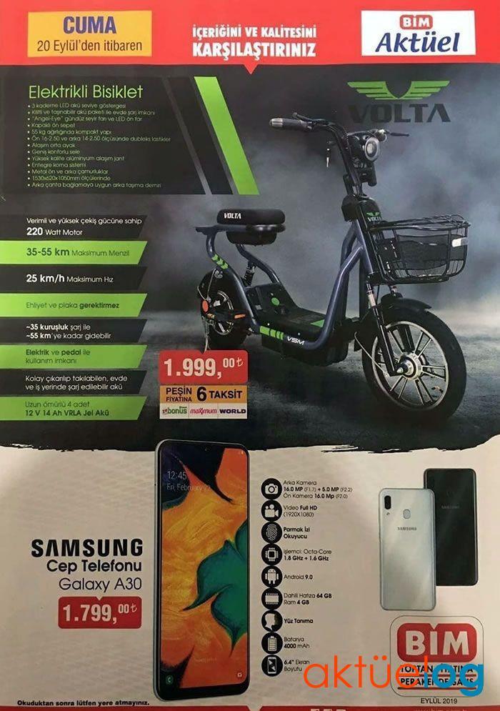 BİM 20 Eylül 2019 Aktüel Ürünler Kataloğu (Elektrikli Bisiklet Geliyor)